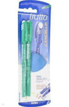 Набор Tratto Cancellik Пиши-стирай. Шариковые ручки, 2 штуки + ластик. Зеленые (41704) ручки fila tratto cancellik шариковая ручка пиши стирай черная 2 шт в блистере ластик