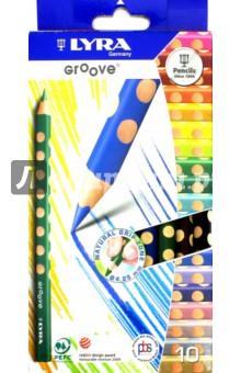 Карандаши цветные, 10 цветов GROOVE SLIM утолщенные (L3811100)