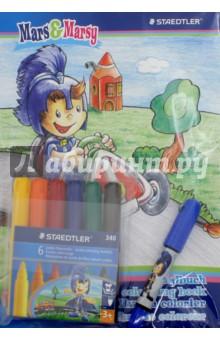 Маркеры NorisClub Jumbo Mars. Набор из 6 цветов в блистере (340SET1BP) карандаши цветные трехгранные noris club jumbo 6 цветов 128nc6