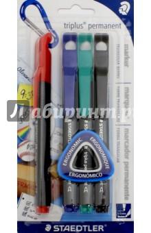 Набор перманентных маркеров Staedtler, 4 шт. Зеленый, синий, черный, красный (3452-SBK4)