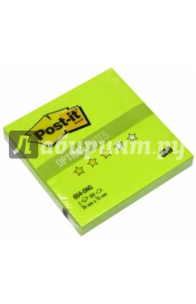 Блок самоклеящийся  салатовый неон (76х76 мм, 100 листов) (654-ONG) блок самоклеящийся бумажный 3m post it optima зима 654 ops 7100041129 76x76мм 100лист пастель сереб