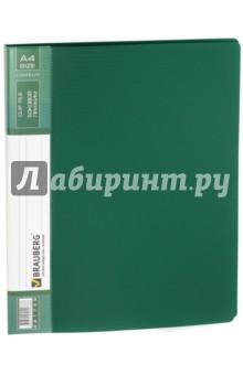 Папка с боковым металлическим прижимом и внутренним карманом, зеленая (221789) Brauberg