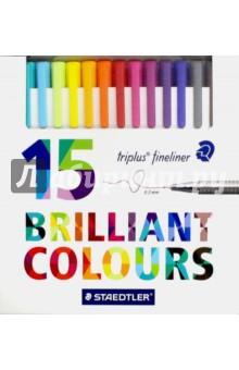 Набор капиллярных ручек Triplus 334 (15 цветов) (334C15) staedtler набор капиллярных ручек triplus 3 цвета