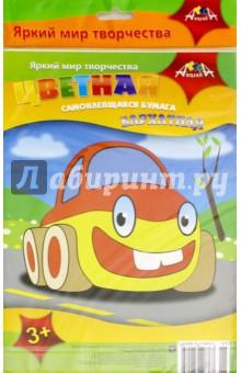 Бумага цветная бархатная самоклеящаяся Машинка (4 листа, 4 цвета) (С2562-01) бумага цветная бархатная самоклеящаяся паучок 5 листов 5 цветов с0349 01