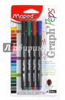 Набор ручек капиллярных Graph peps, 4 штуки (749144) набор цветных карандашей maped color peps 12 шт 683212 в тубусе подставке