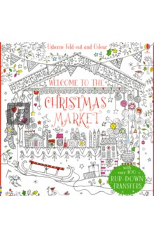Fold-Out Christmas Market to Colour the usborne fantastic colouring and sticker book