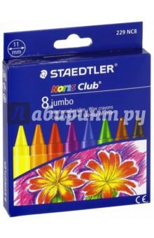"""Мелки восковые """"Noris Club Jumbo 229"""" (d=11мм, 8 цветов) STAEDTLER"""