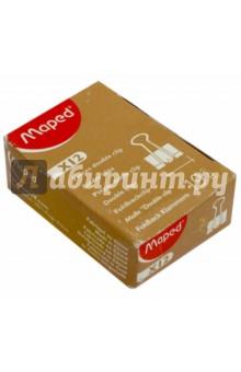 Зажим для бумаг (металл, 19 мм, 70 листов, 12 штук, черный) (FR036131-2) MAPED