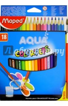 Карандаши цветные акварельные COLOR PEP'S AQUA, 18 цветов, + кисть (836012) карандаши восковые мелки пастель maped карандаши color peps 18 цветов