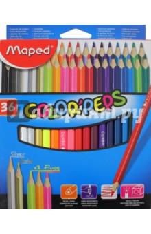 Карандаши цветные COLOR'PEPS, 36 цветов, треугольные (832017) карандаши artberry 6цв треугольные jumbo