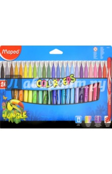 Фломастеры JUNGLE, 24 цвета (845422)