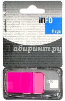 Клейкие Z закладки, пластик, 25х43 мм, 50 листов, неон розовый (7728-29) Info Notes