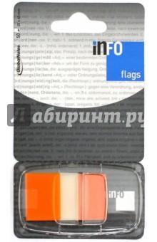 Клейкие Z закладки, пластик, 25х43 мм, 50 листов, оранжевый край (7728-67) Info Notes
