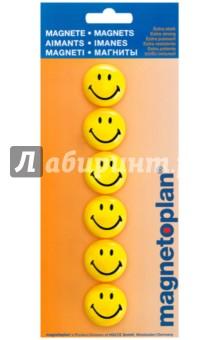 Магниты-смайлы в блистере. Желтые. 6 штук. d=30 мм. (16672) фонарь maglite mini 2aa красный 14 6 см в блистере с чехлом 947186