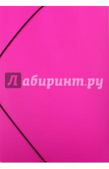 """Папка пластиковая с клапанами на резинке """"DIAMOND NEON розовая"""", А4 (Пк4р_02033)"""