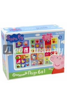 Peppa Pig. Развивающий пазл 6 в 1 фигурный Герои и предметы (01567) пазл 4 в 1 peppa pig транспорт 01597