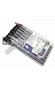 Набор капиллярных ручек, 7 штук Pigment liner черный + карандаш механический (308SB8P) карандаш механический rotring rapid pro 0 5мм серебристый 133 5 мм 1904255