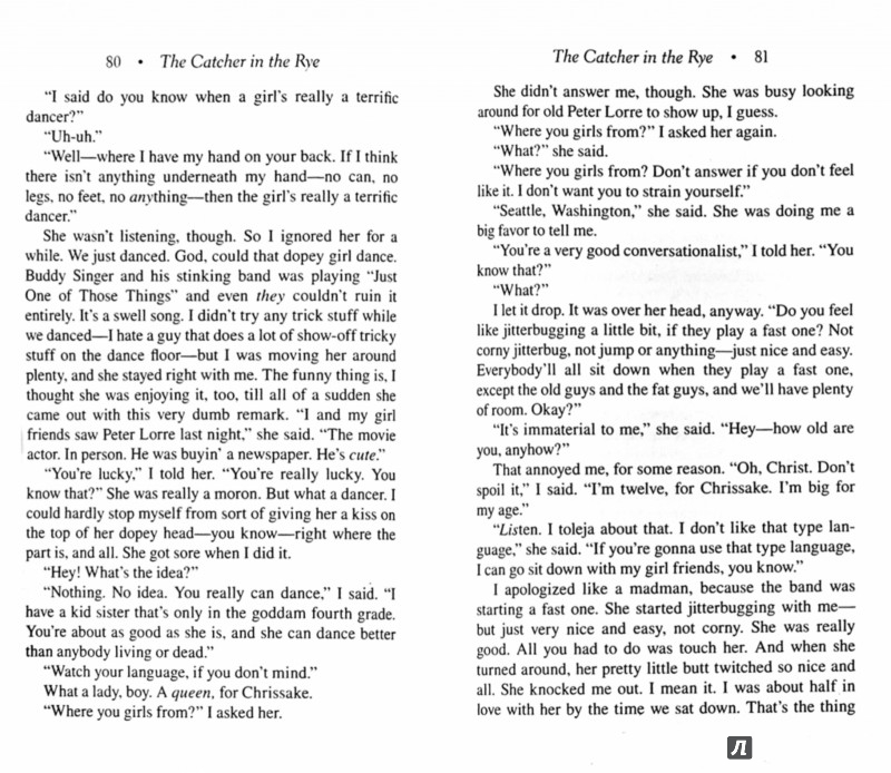 an examination of the language of catcher in the rye Language term papers (paper 9271) on language usage in the catcher in the rye : the passage of adolescence has long served as the central theme for many novels, but the catcher in the rye, by jd salinger, has captured.