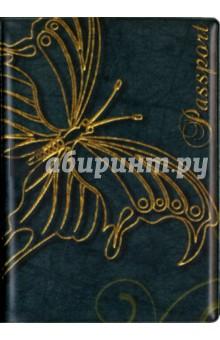 """Обложка для паспорта """"Золотая бабочка на зеленом фоне"""" Символик"""