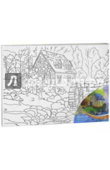Купить Холст для рисования, 30х40 см, ДОМИК В ДЕРЕВНЕ, с красками (Х-9841), Рыжий Кот, Создаем и раскрашиваем картину