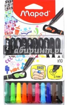 Набор капиллярных ручек с трафаретами, 10 цветов Graph Peps Mania (749450) набор цветных карандашей maped color peps 12 шт 683212 в тубусе подставке