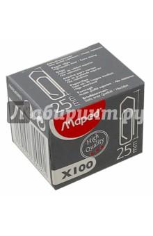 Скрепки никелированные, 100 штук, 25 мм (032020)