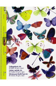 Тетрадь общая Бабочки (80 листов, А4, линейка, на гребне)