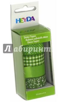 Набор декоративных клеевых лент (4 вида, 15мм х 5м, зеленый) набор декоративных лент veld co цвет зеленый желтый красный 3 шт