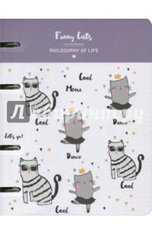 Тетрадь Funny cats (120 листов, кольцевой механизм, клетка, А5) (N993) тетрадь доминанта froggy а5 120 листов клетка с кольцевым механизмом