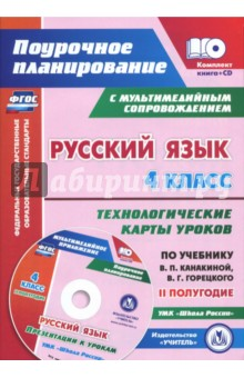 Русский язык. 4 класс. Технологические карты уроков по учебнику В.П.Канакиной. II полугодие (+CD)
