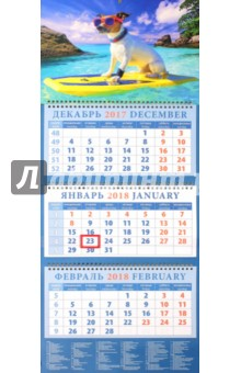 Календарь квартальный на 2018 год Год собаки. Джек рассел терьер на активном отдыхе (14813)
