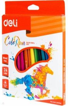 Карандаши ColorRun (24 цветов, трехгранные) (EC00120) карандаши цветные noris colour 24 цветные трехгранные 187c24