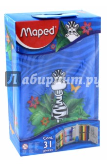 Пенал с наполнением для детей Jungle (32 предмета) (967814) точилка пластиковая maped stop signal одно отверстие с контейнером
