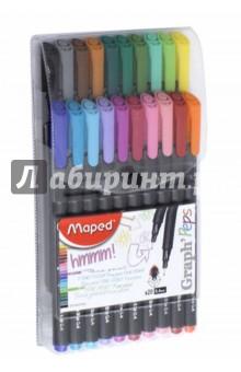 Капиллярные ручки Graph Peps (20 цветов) (749151) набор цветных карандашей maped color peps 12 шт 683212 в тубусе подставке