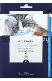 """Карандаши акварельные """"Aquarelle"""" (18 цветов, трехгранные) (30-0048)"""