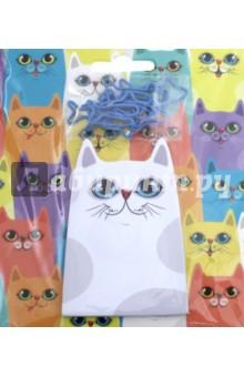 Канцелярский набор Белая кошка (бумага+скрепки) (76730)
