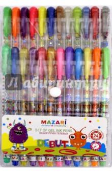 Набор ручек гелевых с блестками Debut (24 цветов) (М-5514-24) mazari набор гелевых ручек orion 4 цвета