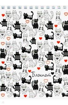 """Блокнот """"Котики на белом"""" (120 листов, А6, клетка, гребень) (45419)"""