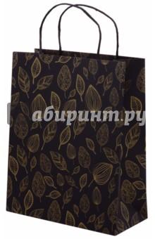 Пакет подарочный Золотые листья (26х12х32 см) (45578)