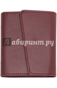 Визитница односторонняя (12 карманов, цвет бордовый, 100х120 мм) (45299)