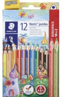 Карандаши цветные Noris Club Jumbo (12 цветов, трехгранные, точилка) (128NC12P1) карандаши цветные трехгранные noris club jumbo 6 цветов 128nc6