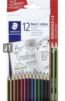 Карандаши цветные Noris Colour (12 цветов + 2 чернографитных карандаша) (185C14AC) карандаши цветные noris colour 24 цветные трехгранные 187c24