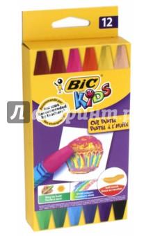 Пастель масляная BIC Kids (12 цветов) (B926446) фломастеры bic kids visa 12 цветов