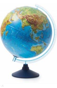 Глобус Земли физико-политический (d=320 мм, рельефный, с подсветкой от батареек) (Ве023200267).