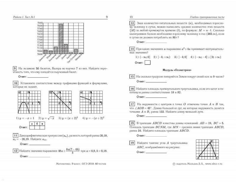 Гдз Математика 9 Класс Огэ 2018 60 Тестов Мальцев