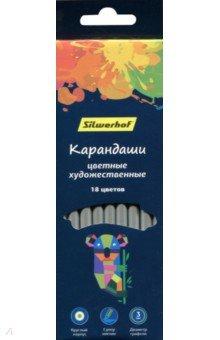 """Карандаши художественные 18 цветов круглые """"Цветландия"""" (134211-18)"""