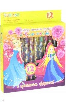 Набор ручек гелевых с блестками, ароматизированные, 12 цветов (TZ 5220-12) tukzar tukzar набор шариковых ручек  10 цветов