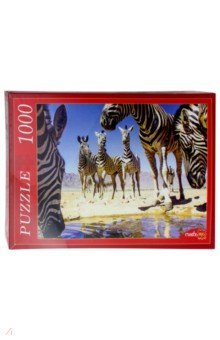 Puzzle-1000 Зебры у воды (КБ1000-6924) puzzle 1000 поле подсолнухов кб1000 6897