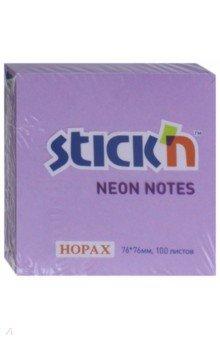 Блок для записей самоклеящийся, 100 листов, 76x76 мм, неоновый фиолетовый (21210).