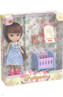 Кукла Катенька с набором Кроватка и коляска (М6614) куклы и одежда для кукол yako кукла катенька 16 5 см m6620